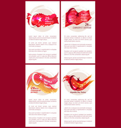 turkey republic day set colorful posters vector image