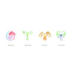 watercolor zodiac signs set aries taurus gemini vector image