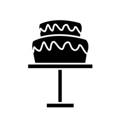 Wedding cake and pedestal sweet food vector