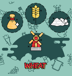 Wheat flat concept icons vector
