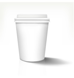 White realistic paper cup in front view with white vector