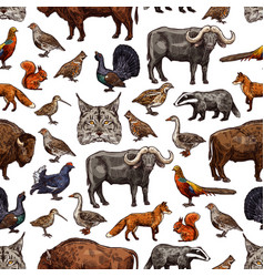 wild animals sketch seamless pattern background vector image