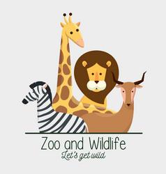 Wildlife animals with natural safari reserve vector