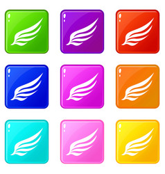Wing icons 9 set vector