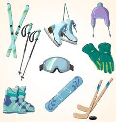 Winter sports equipment icons collection vector