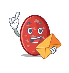 With envelope salami character cartoon style vector