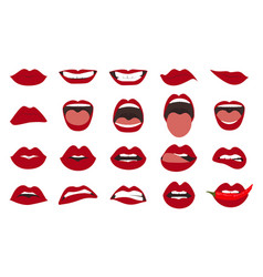 Woman lips gestures set girl mouths close up with vector
