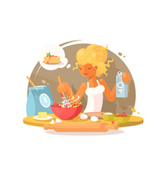 Young blonde woman prepares meal vector