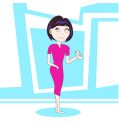 young woman hold smart phone standing over vector image