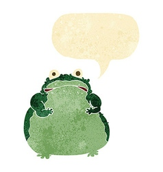Cartoon fat frog with speech bubble vector