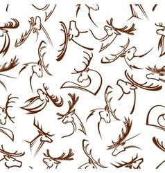 Deer heads seamless pattern background vector