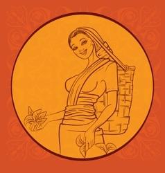 tea picker with regional background Sry Lanka vector image vector image