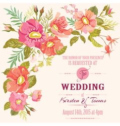 Wedding Floral Invitation Card - Save the Date vector image