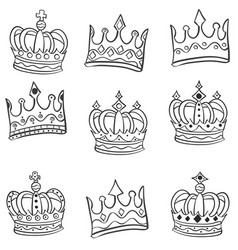 crowns hand draw of set doodles vector image vector image