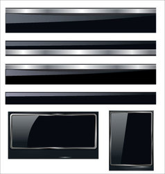 glossy banners in dark blue vector image vector image