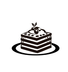 Sweet cake is on the saucer vector