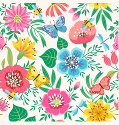 bright flower pattern vector image vector image