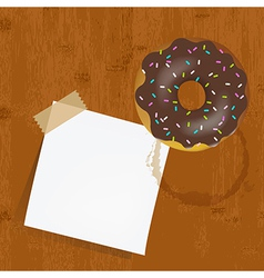 Empty Reminder With Chocolate Donuts vector image