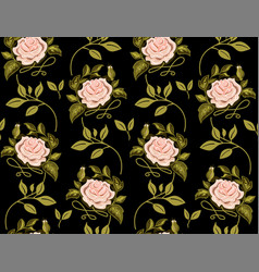 flower pattern of roses on black background vector image vector image