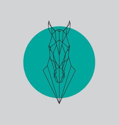 horse head geometric lines silhouette vector image