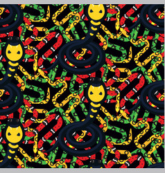 serpent tangle and cobra black seamless pattern vector image