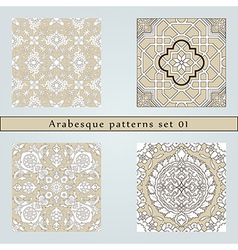 Set of four arabesque seamless pattern vector image
