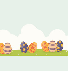 Background easter with egg on hill vector