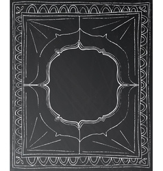 Chalk painted frame on black background vector image vector image