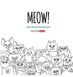 Doodle cat background vector