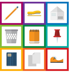Flat icon stationery set of trashcan drawing tool vector