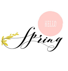 fresh hello spring lettering and growing herb stem vector image vector image
