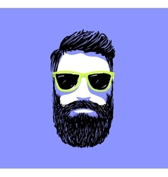 Hipster fashion bearded man portrait in sunglasses vector image vector image
