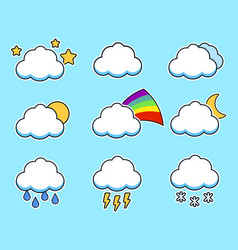 icons flat cloud set for your design on blue vector image