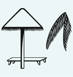 Palm leaf and beach umbrella vector image