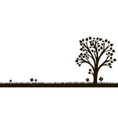 silhouette of tree with leaves at grass vector image vector image