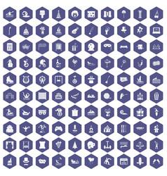 100 amusement icons hexagon purple vector