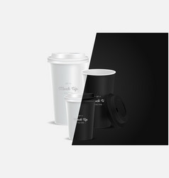 3 black coffee cups mockup on background vector