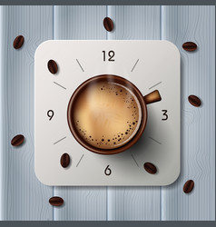 alarm clock with hot coffee mugs and coffee beans vector image