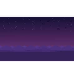 Beautiful hills at night scenery vector image