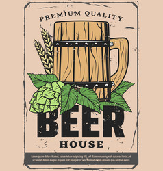 Beer house retro poster with craft wooden pint vector