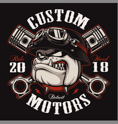 biker bulldog t-shirt design color version vector image