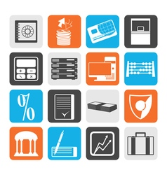 Black bank business finance and office icons vector
