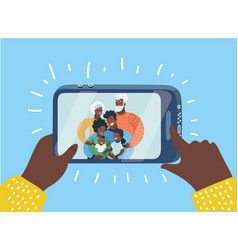 black family taking a selfie photo vector image
