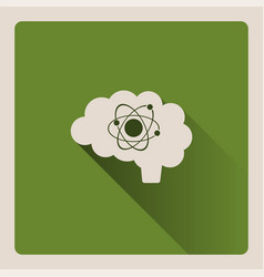 Brain thinking in science on green background vector