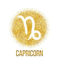 Capricorn gold glitter zodiac sign vector