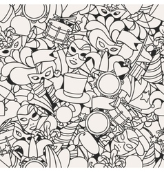 Carnival show seamless pattern with doodle icons vector