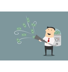 Cartoon businessman vacuuming up money vector