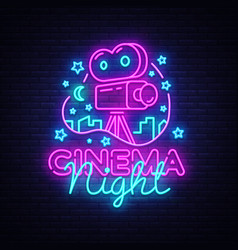 cinema night neon logo movie night neon vector image