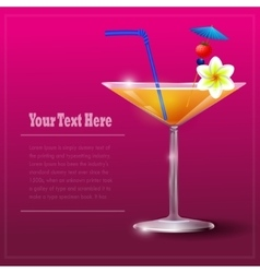 Cocktail glass with straw and flower vector