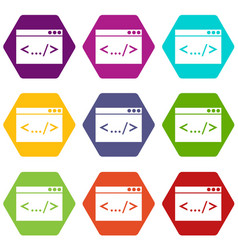code window icon set color hexahedron vector image